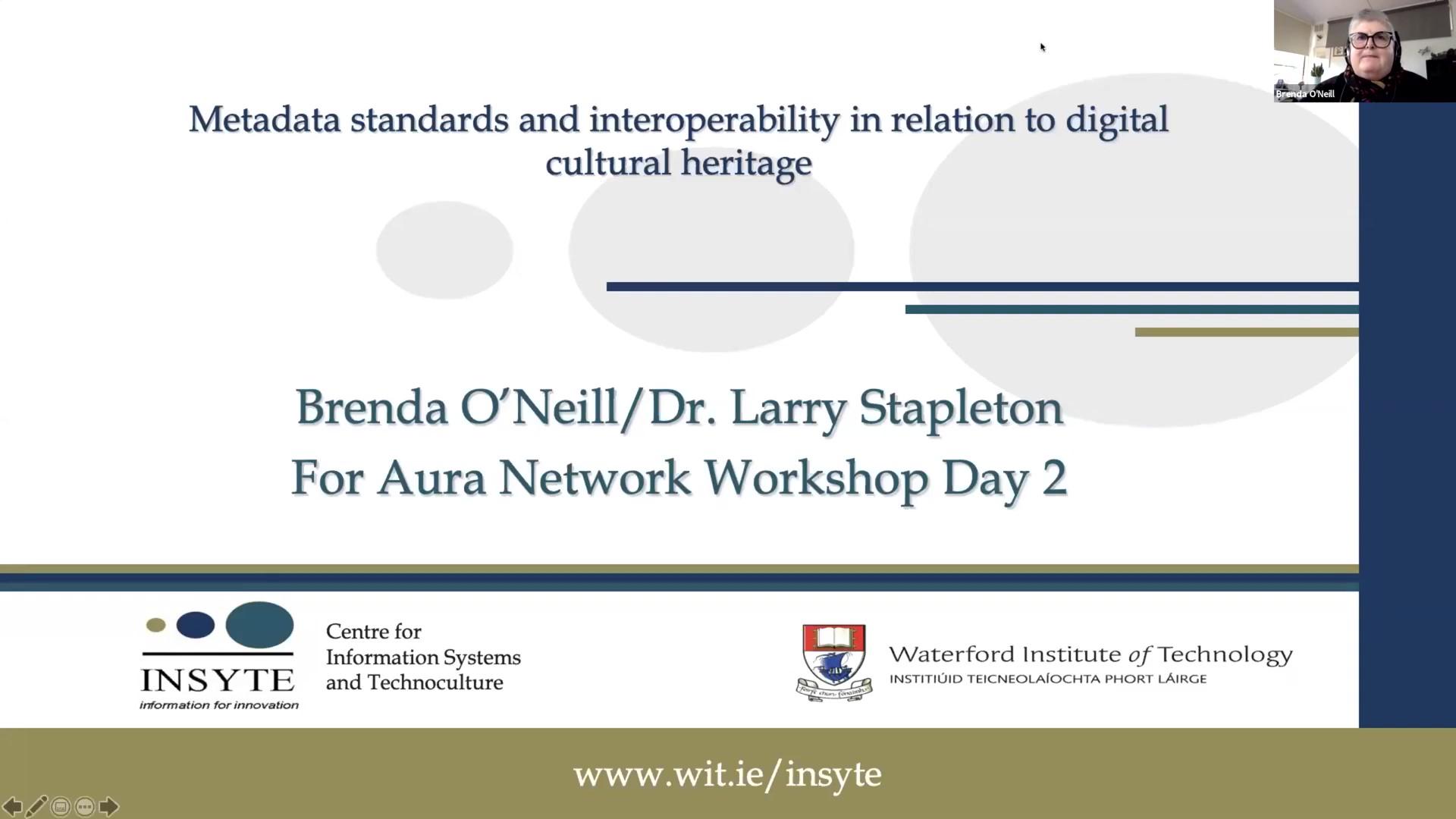 Workshop 1 – Brenda O'Neill – Metadata standards & interoperability in relation to digital cultural heritage