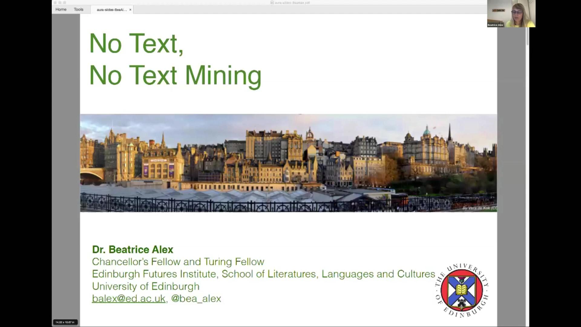 Workshop 1 – Bea Alex – 'No Text, No Text Mining'