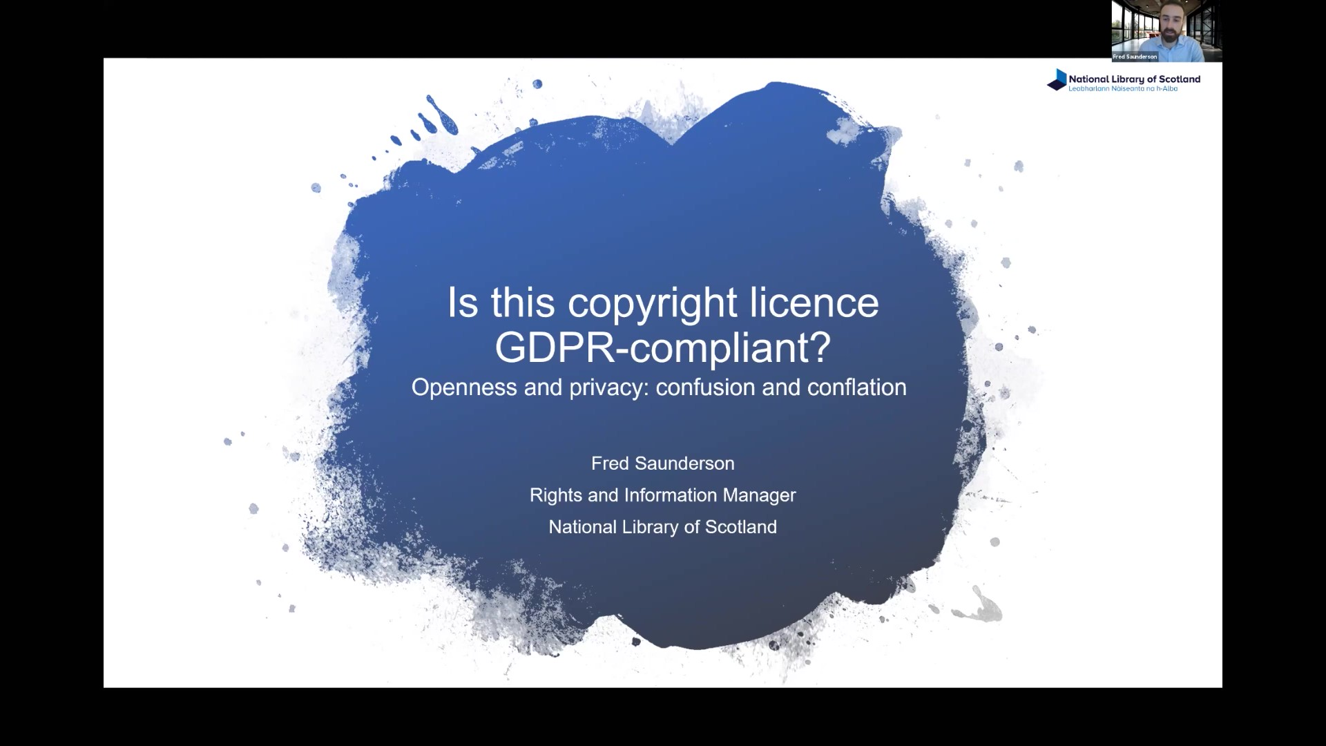 Workshop 1- Fred Saunderson – 'Is this Copyright licence GDPR-compliant?'