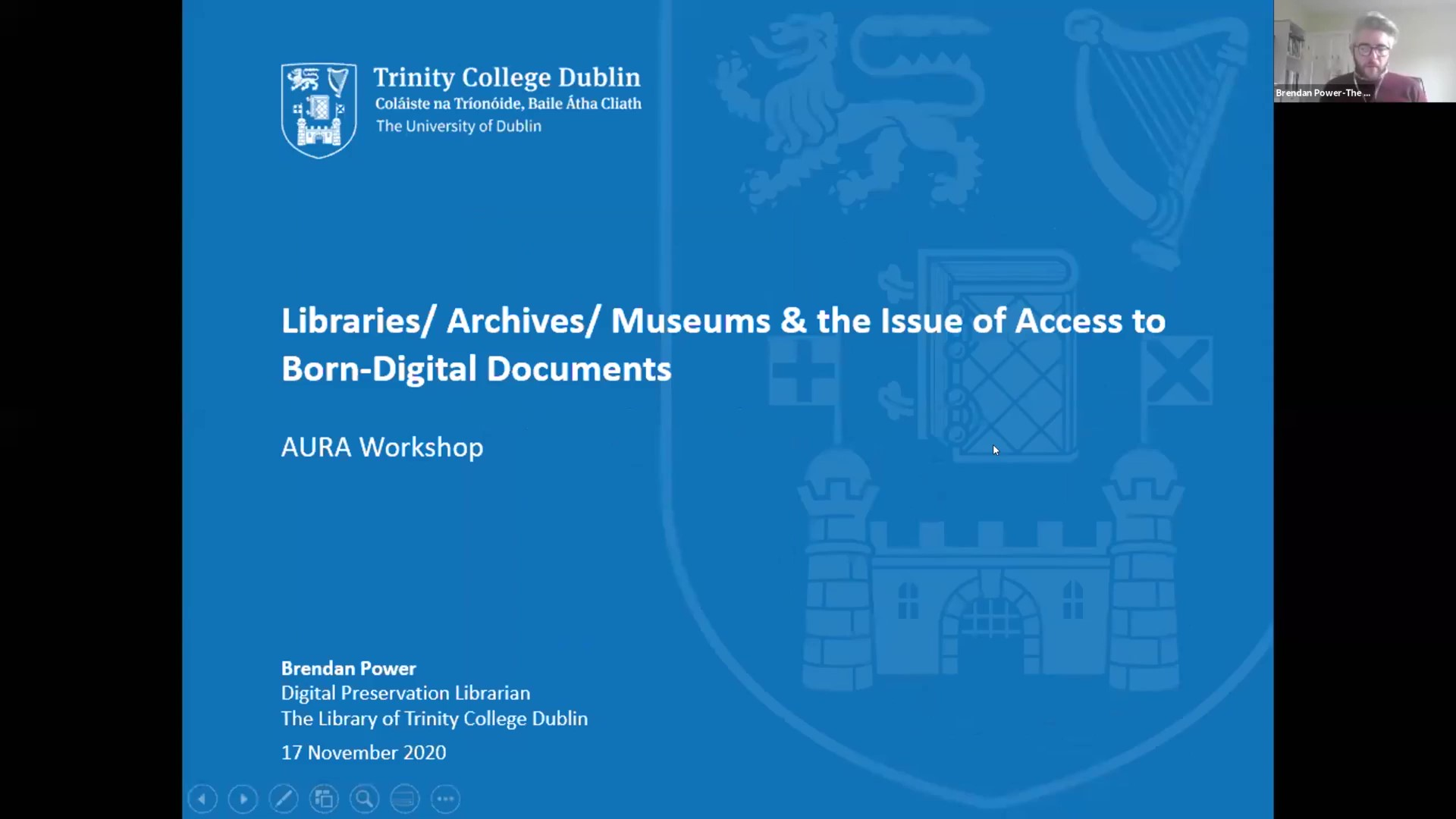 Workshop 1 – Brendan Power – Libraries/ Archives/ Museums & the Issue of Access to Born-Digital Documents