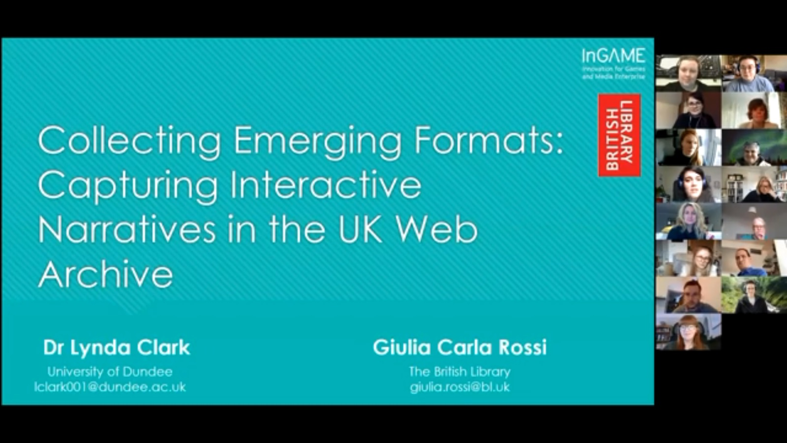 Workshop 2 – Lynda Clark and Giulia Carla Rossi – Collecting Emerging Formats