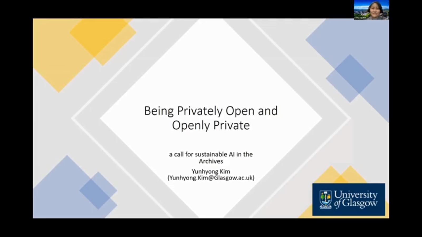 Workshop 1 – Yunhyong Kim – Being Privately Open and Openly Private